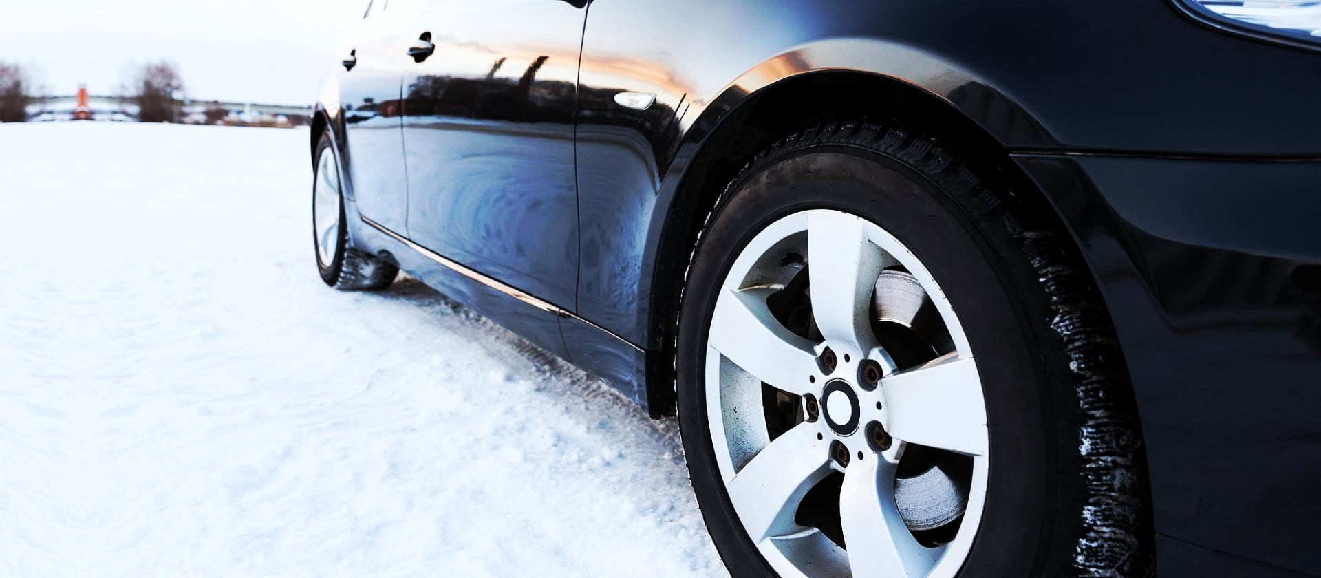 car tires on the winter road